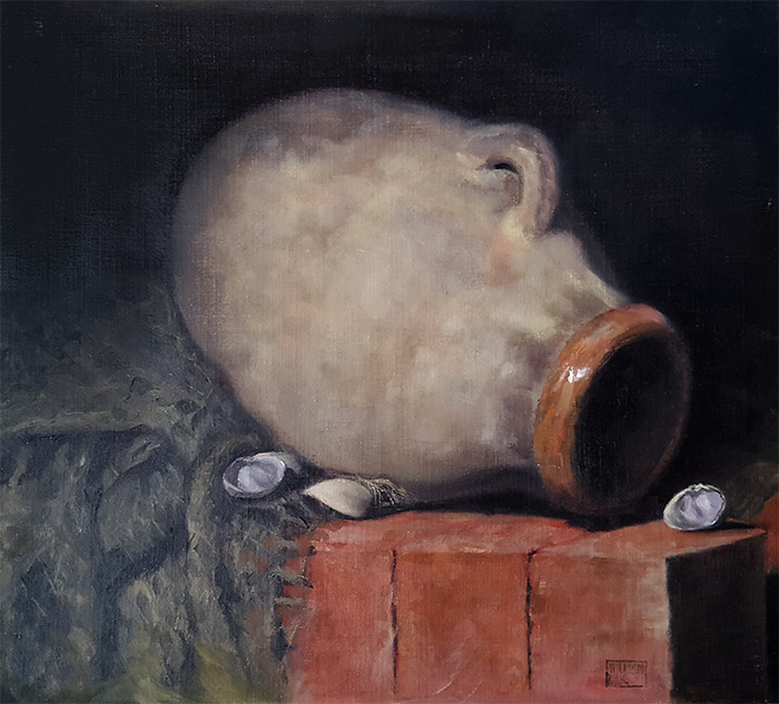 William Eric : Still-life with pig jug and clams, 2007.